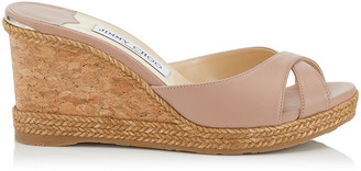 Jimmy Choo ALMER 80 Pink Nappa Leather Sandal Mules with Braid Trim Wedge