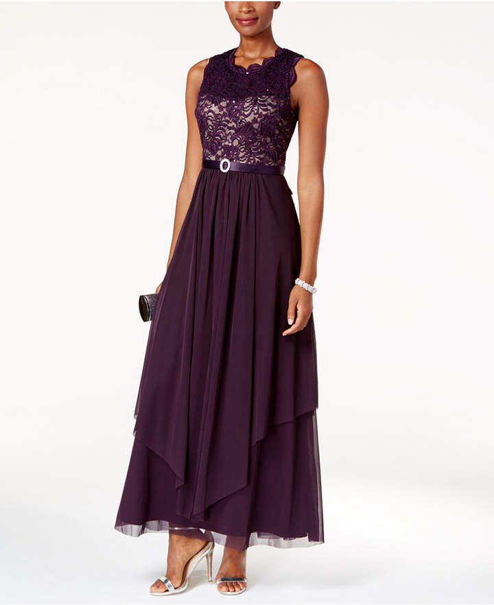 R & M Richards Sequined Lace Chiffon Gown 2