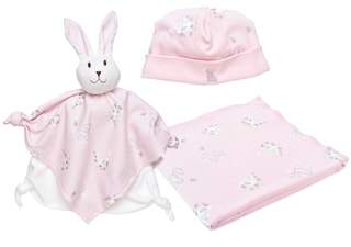 Under the Nile 3-Piece Bunny Print Swaddle Blanket, Beanie & Lovey Toy Set