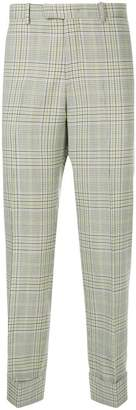 Wooyoungmi plaid cuffed trousers
