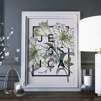 The Print Florist Personalised Lily Botanical Flower Print