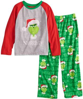 """Dr. Seuss Boys 4-12 Jammies For Your Families How the Grinch Stole Christmas Grinch """"Naughty"""" Top & Microfleece Bottoms Pajama Set"""