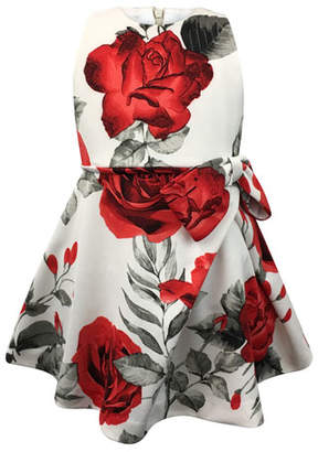 Helena Rose-Print Bow Dress, Size 7-14