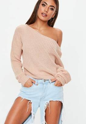 Missguided Nude Off Shoulder Cropped Knit Sweater