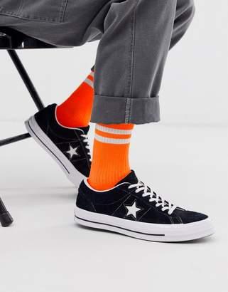 Asos Design DESIGN sports socks in neon orange with stripe