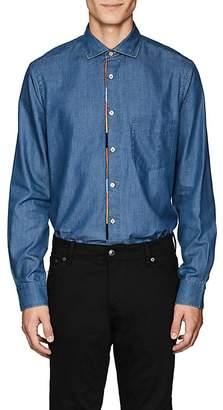 Paul Smith Men's Striped-Placket Cotton Chambray Shirt