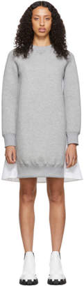 Sacai Grey and White Sponge Sweatshirt Dress