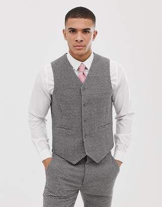 Asos DESIGN wedding super skinny vest in gray houndstooth