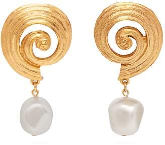 Oscar de la Renta Shell and faux-pearl earrings