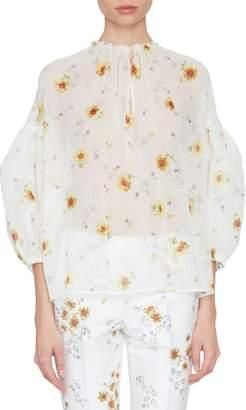 Silk Floral Peasant Top