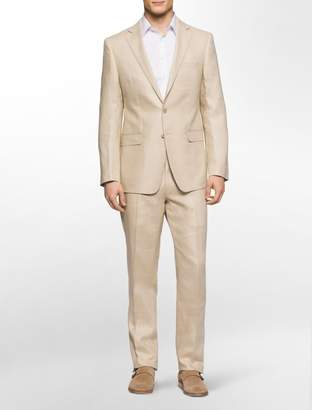 Calvin Klein x fit ultra slim fit khaki linen suit