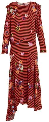 Preen Line Aaliyah Pansy Print And Striped Crepe Dress - Womens - Red Multi