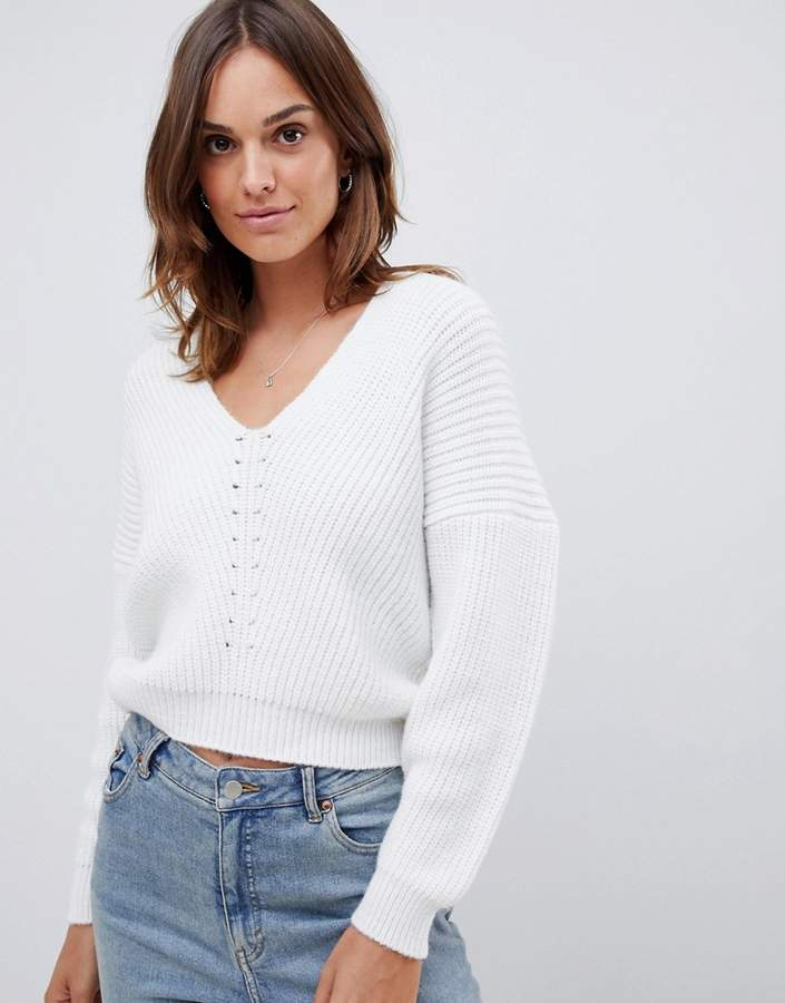 ASOS DESIGN v neck sweater in moving rib