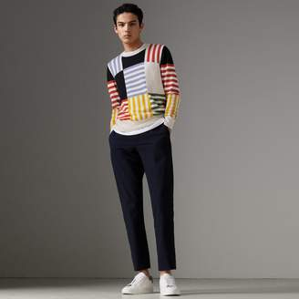 Burberry Striped Intarsia Cashmere Cotton Sweater