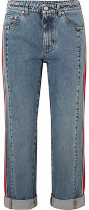 Alexander McQueen Striped Grosgrain-trimmed Boyfriend Jeans - Blue