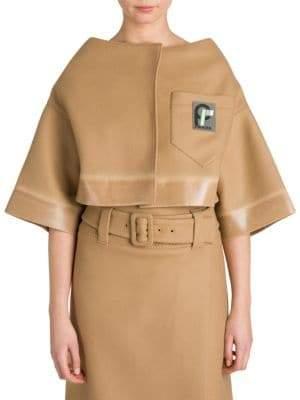 Prada Panno Gommator Trim Cropped Jacket