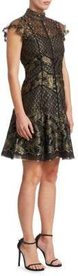 J. Mendel Short Flutter-Sleeve Dress
