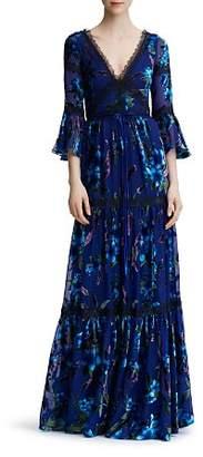 Marchesa Floral-Pattern Burnout Velvet Gown
