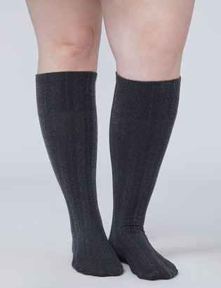Lane Bryant Cable Ribbed Comfort Band Trouser Sock 2-pack