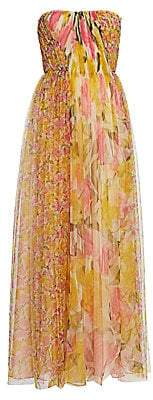 Jason Wu Collection Women's Printed Tulle Strapless Gown