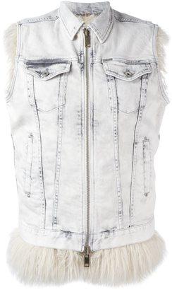 Diesel sleeveless zipped denim jacket $317.99 thestylecure.com