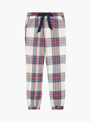Fat Face Tartan Cuffed Drawstring Pyjama Pants, Multi