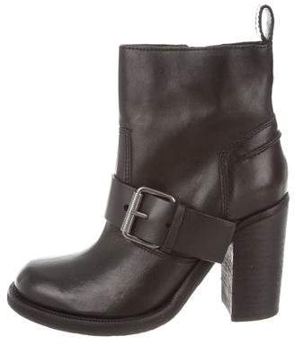 AllSaints Leather Round-Toe Ankle Boots