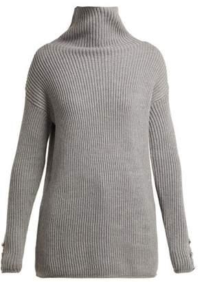 Max Mara Roll Neck Ribbed Knit Wool Sweater - Womens - Grey
