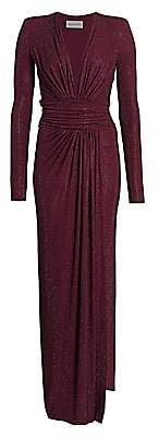 Alexandre Vauthier Women's Microcrystal Plunging Long-Sleeve Gown