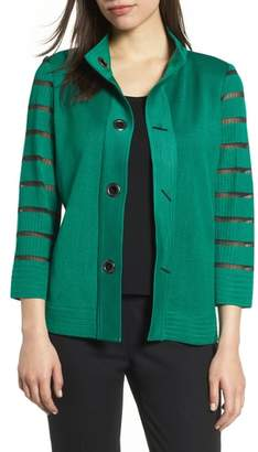 Ming Wang Stripe Sleeve Knit Jacket