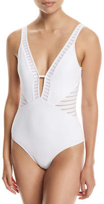 Jets Parallels Plunge V-Neck One-Piece Swimsuit, White