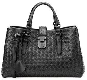 Bottega VenetaBottega Veneta Roma Small Woven Compartment Tote Bag, Black