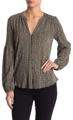 Lucky Brand Button Front Puff Sleeve Top