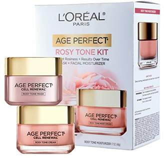 L'Oreal Skincare Giftable Kit with Age Perfect Favorites Rosy Tone Face Moisturizer and Face Mask