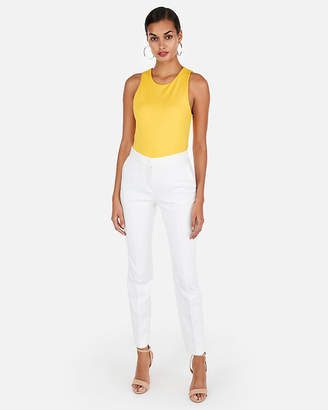 Express Solid Ponte High Neck Scoop Tank