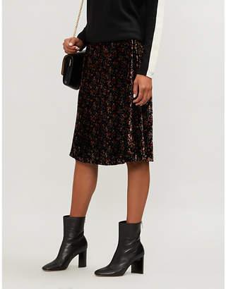Claudie Pierlot High-waist printed velvet skirt