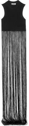 Jil Sander Fringed Ribbed-knit Top - Black
