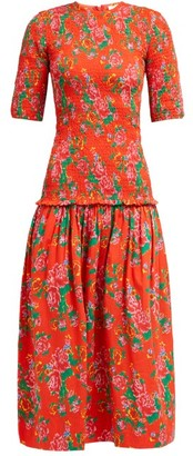 Rhode Resort Zola Shirred Floral Print Cotton Midi Dress - Womens - Red Print
