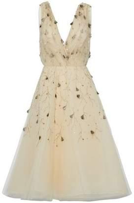 Oscar de la Renta Embellished Silk-Tulle Dress
