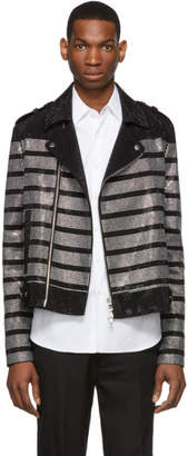 Balmain Black Striped Rhinestone Biker Jacket