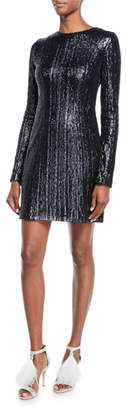 Galvan Long-Sleeve Sequined Body-Con Mini Dress