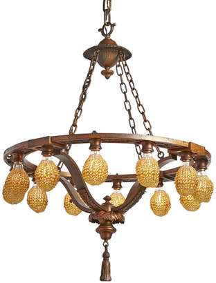 Rejuvenation Cast Bronze Classical Revival 12-Light Chandelier w/ Beaded Bulb Covers