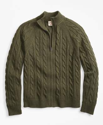 Brooks Brothers Cable-Knit Zip Sweater