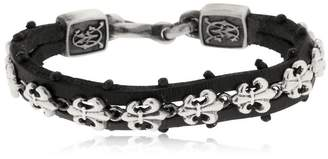 Fleur-De-Lis Silver & Leather Bracelet