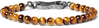 Bottega Veneta Tiger's Eye Bead and Oxidised Silver Bracelet - Brown