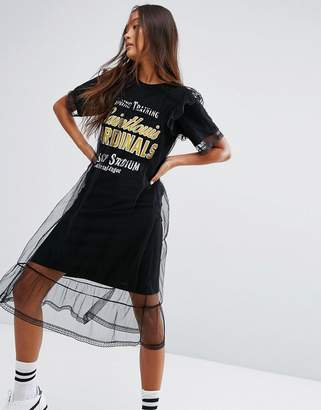 STYLE NANDA STYLENANDA Varsity T-Shirt Dress With Backprint And Mesh Overlayer $72 thestylecure.com