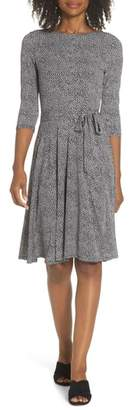 Leota Belted Print Jersey A-Line Dress