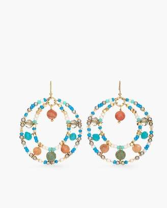 Multi-Colored Beaded Double-Hoop Earrings