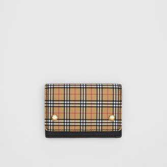 Burberry Small Scale Check and Leather Folding Card Case