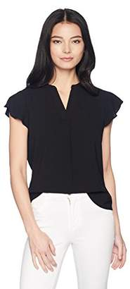 Calvin Klein Women's Petite Flutter Sleeve V-Neck Top